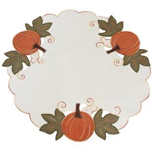 Pumpkin Patch Embroidered Cutwork Linens Round Doily Napkin (Set of 4)