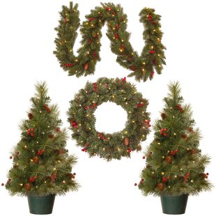 4 piece green pine artificial christmas tree wreath and garland set - Outdoor Prelit Christmas Tree