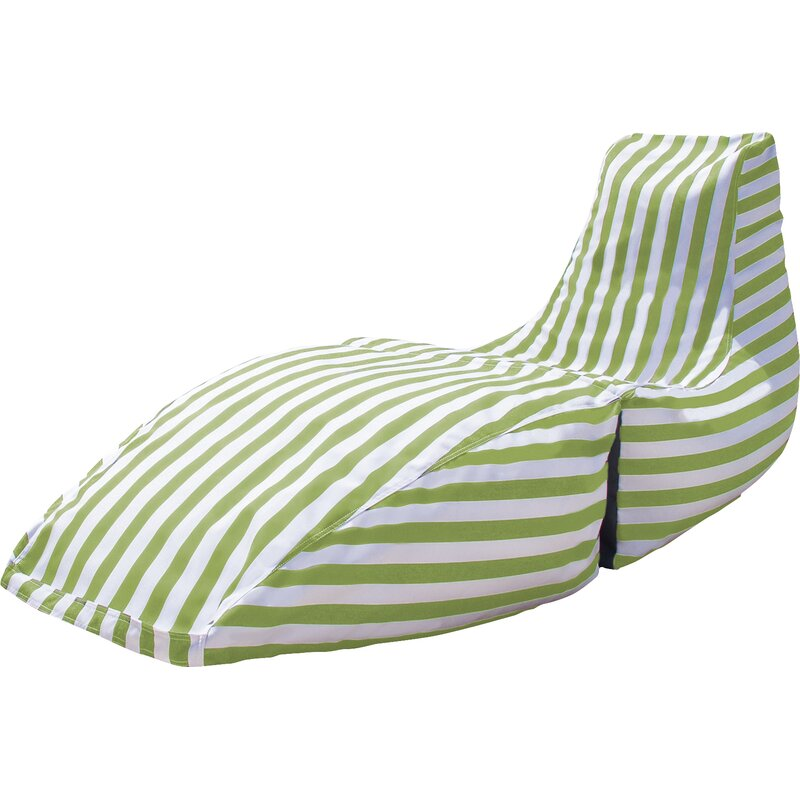 Prado Outdoor Striped Bean Bag Chaise Lounge Chair