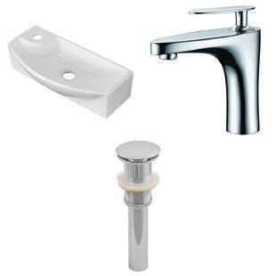 American Imaginations Ceramic U-Shaped Bathroom Sink with Faucet