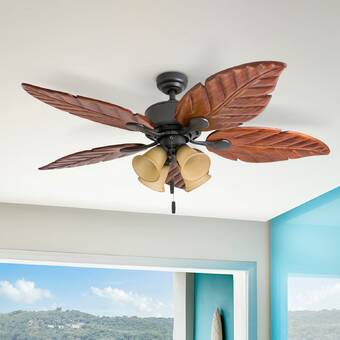 Hunter Fan 52 5 Blade Standard Ceiling Fan With Pull Chain And Light Kit Included Reviews Wayfair