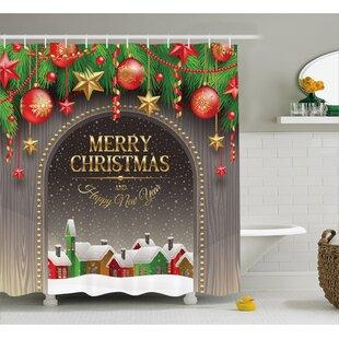 Christmas Vintage Wood Design Shower Curtain