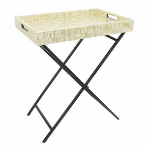 Amadi Wooden Metal Mop Serving Tray Table by Highland Dunes