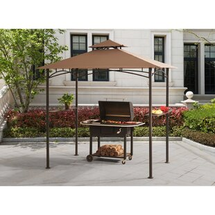 Indigo 8 Ft. W x 5 Ft. D Steel Grill Gazebo with LED Lights by Sunjoy
