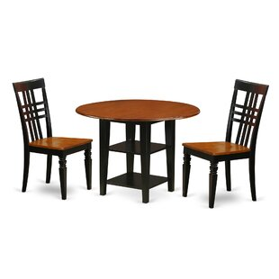 Tyshawn 3 Piece Drop Leaf Breakfast Nook Solid Wood Dining Set