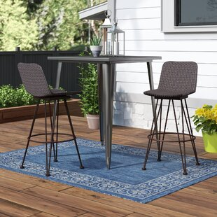 Prevost Outdoor Wicker Patio Bar Stool (Set of 2) by Wrought Studio