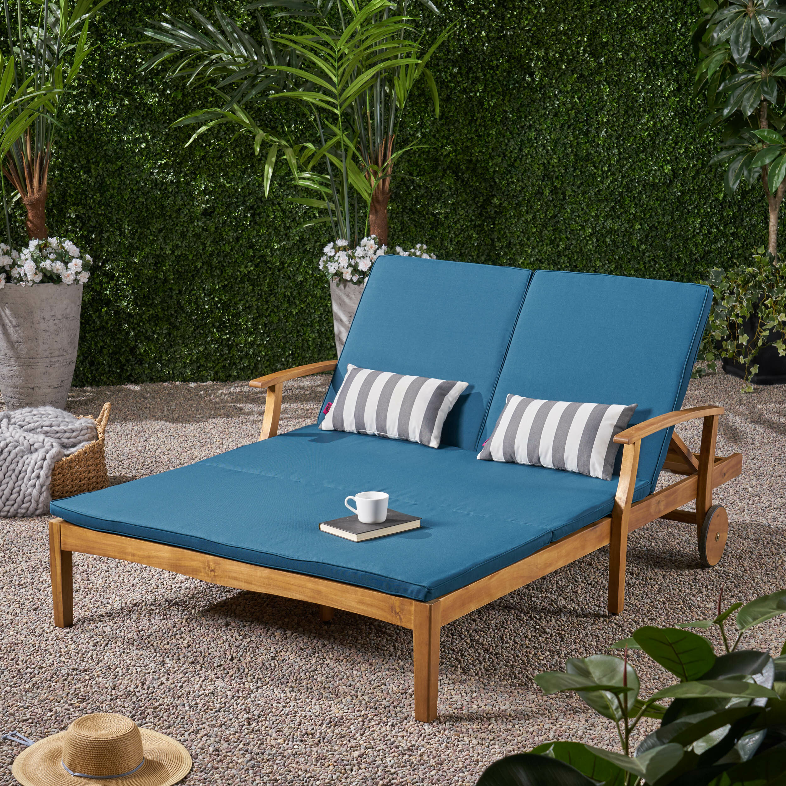 Picture of: Joss Main Antonia Double Reclining Teak Chaise Lounge With Cushion Reviews Wayfair