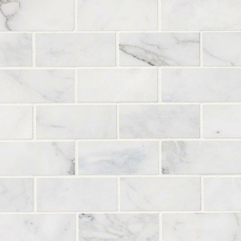 Calacatta Cressa Honed 2 X 4 Marble Subway Tile