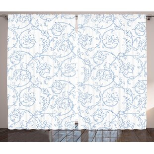 Soderville Floral Flower Orchids Bohemian Style Vintage Petals Vines Pattern French Country Graphic Print Text Semi Sheer Rod Pocket Curtain Panels