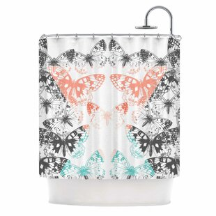 East Urban Home 'Geo Butterflies' Illustration Shower Curtain