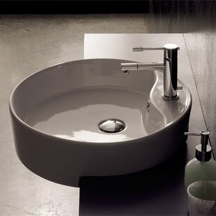 Geo Ceramic Circular Vessel Bathroom Sink With Overflow