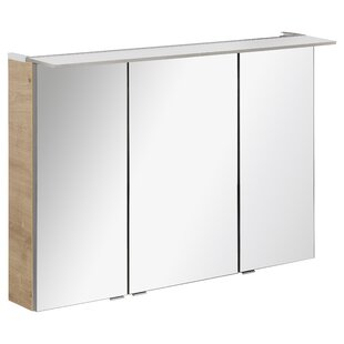 117 X 71cm Surface Mount Mirror Cabinet With LED Lighting By Fackelmann