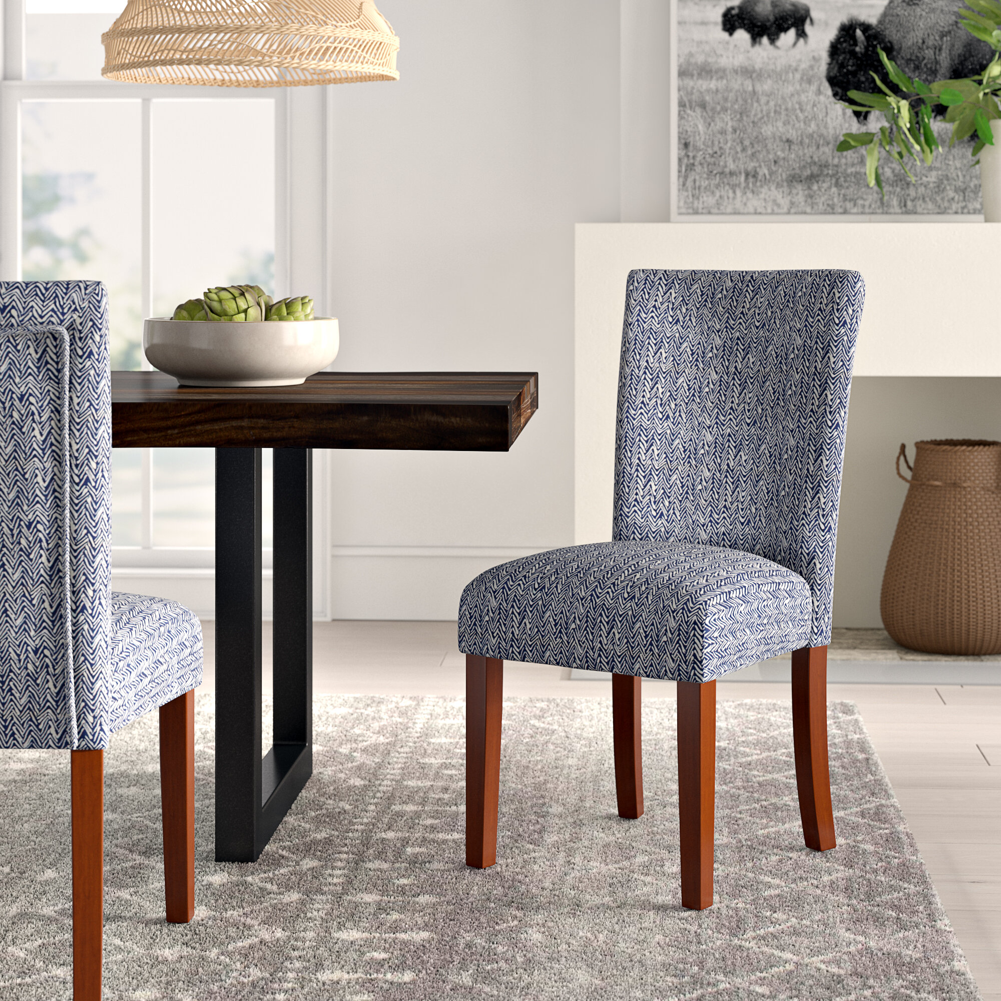Kelsi Upholstered Parsons Chair In Blue