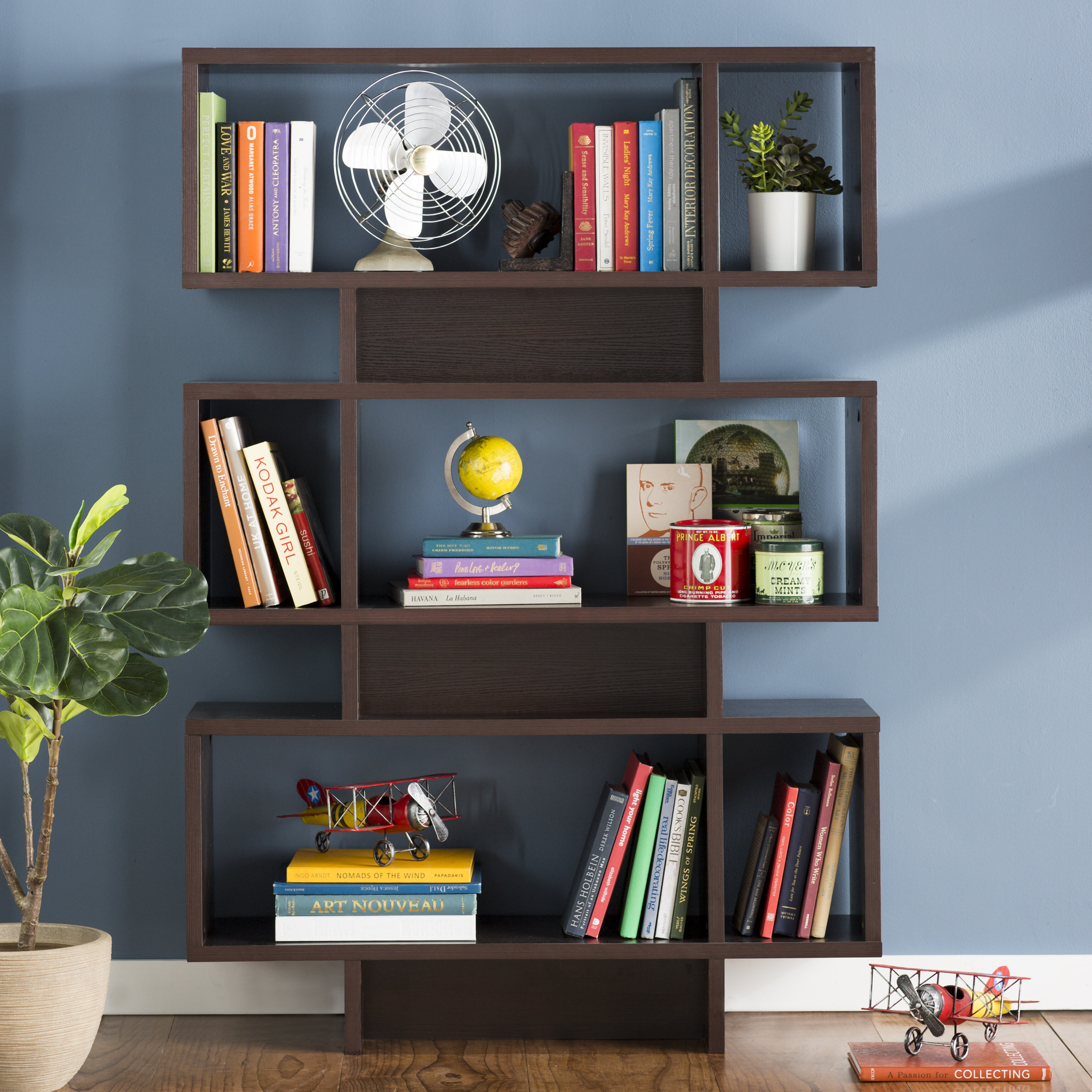 Ebern Designs Zeigler Geometric Bookcase Reviews Wayfair