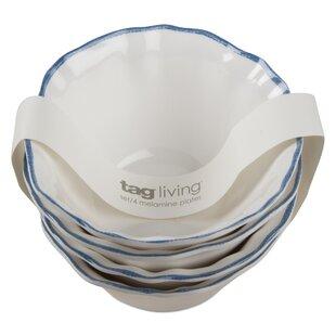 Ruffle Rim 4 Piece Melamine Rice Bowl Set