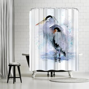 Rachel McNaughton Splashy Heron Single Shower Curtain