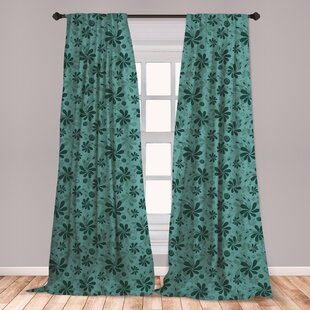 Ambesonne Turquoise Window Curtains Abstract Foliage Leaves Pattern Gentle Fl Arrangement Design Lightweight Decorative Panels Set Of 2