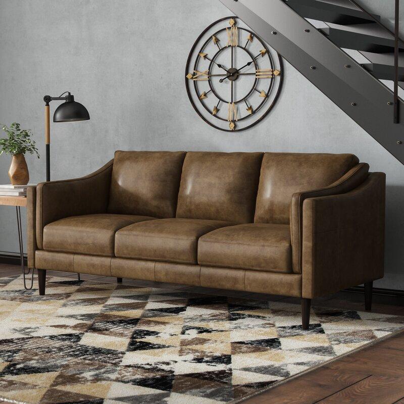 Union Rustic Carl Leather Sofa