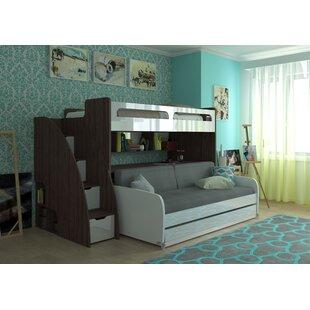 Brayden Studio Gautreau Twin Futon Bunk Bed with Bookcase