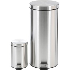 2 piece stainless steel 792 gallon trash can set