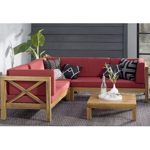 Lejeune 4 Piece Sectional Seating Sofa Set with Cushions