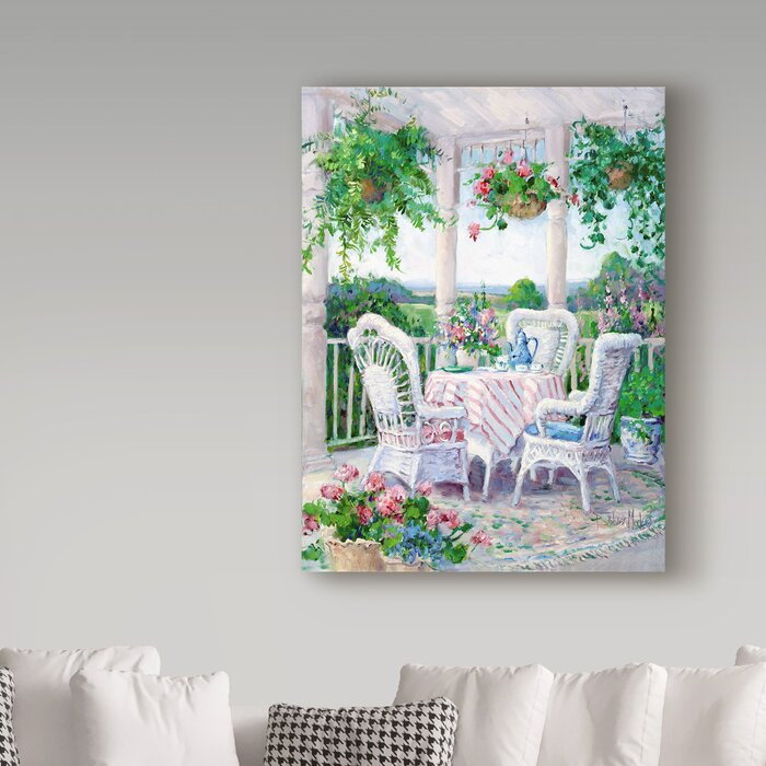 Morning Coffee And Chairs Acrylic Painting Print On Wrapped Canvas