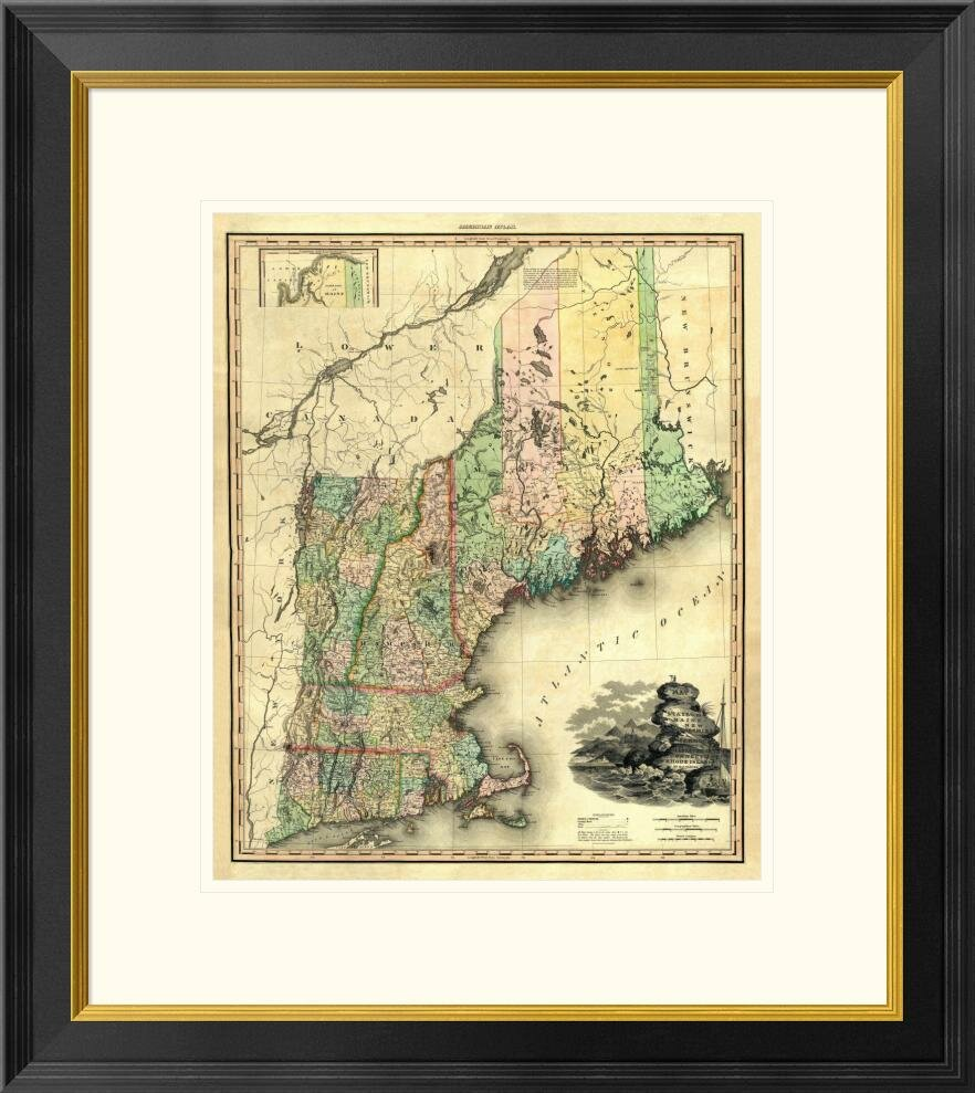 Global Gallery Maine New Hampshire Vermont Massachusetts Connecticut And Rhode Island 1823 By Henry S Tanner Framed Graphic Art Wayfair