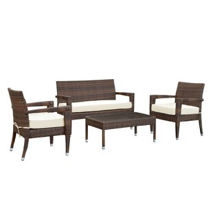 Magatama 4 Piece Rattan Sofa Set with Cushions by Modway