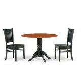 Reidy 3 Piece Drop Leaf Solid Wood Dining Set by Charlton Home®