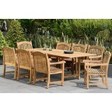 Lucien Extendable 9 Piece Teak Dining Set