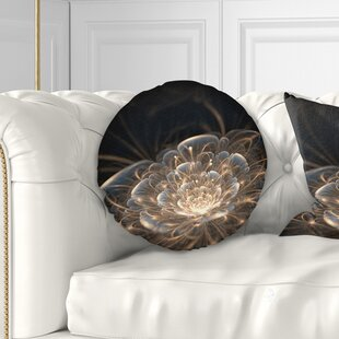 Floral Fractal Flower with Rays Throw Pillow