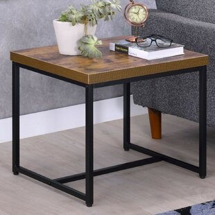 Campo Contemporary Rectangular Wood and Metal End Table by Williston Forge