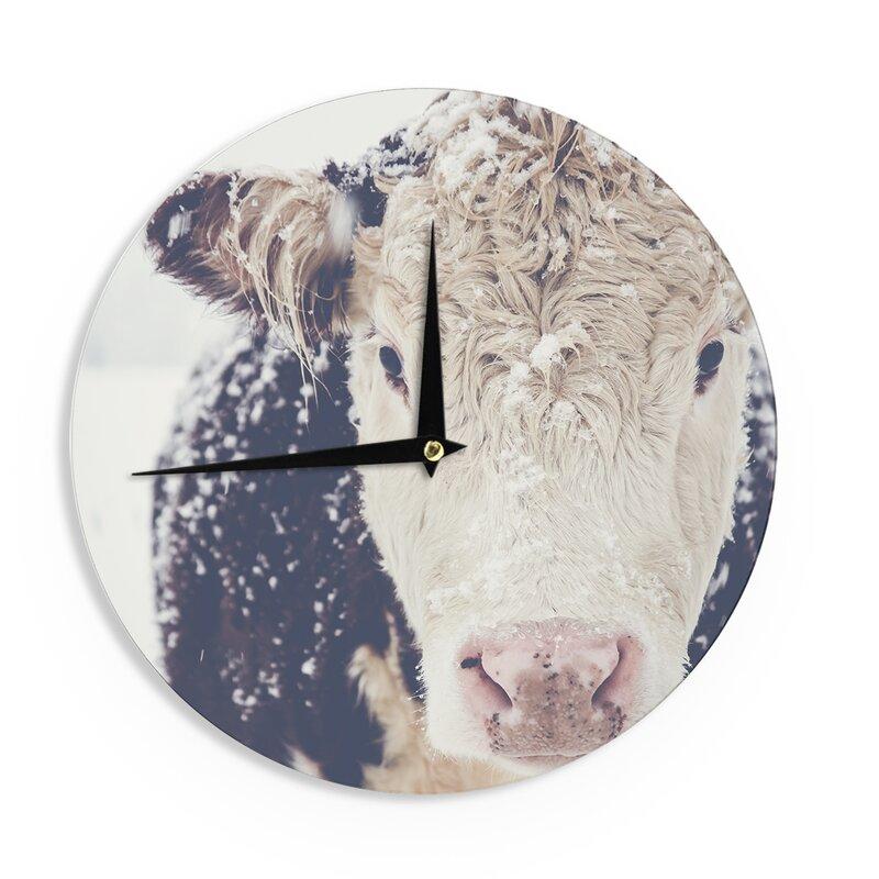 Obertanec 'Snowy Cow' Wall Clock