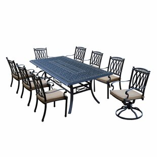 Darby Home Co Otsego 9 Piece Aluminum Dining Set with Cushions