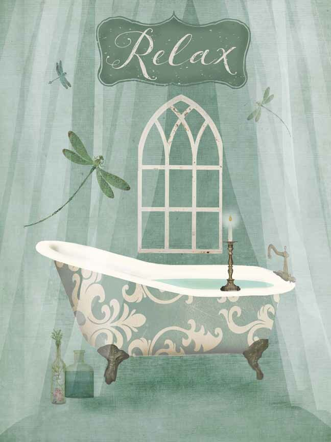 Buy Art For Less U0027Vintage Bathroom Inspired Relax Green Bathtubu0027 By Beth  Albert Graphic Art Print On Wrapped Canvas U0026 Reviews | Wayfair