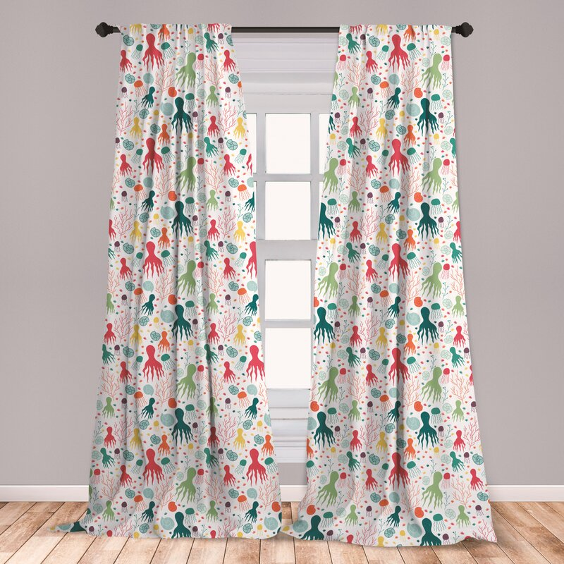 Garden Themed Microfiber Curtains 2 Panel Set Living Room Bedroom in 3 Sizes