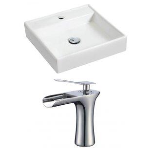 Ceramic 17.5 Wall Mount Bathroom Sink with Faucet ByRoyal Purple Bath Kitchen