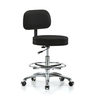 Height Adjustable Exam Stool With Basic Backrest And Foot Ring by Perch Chairs & Stools #1