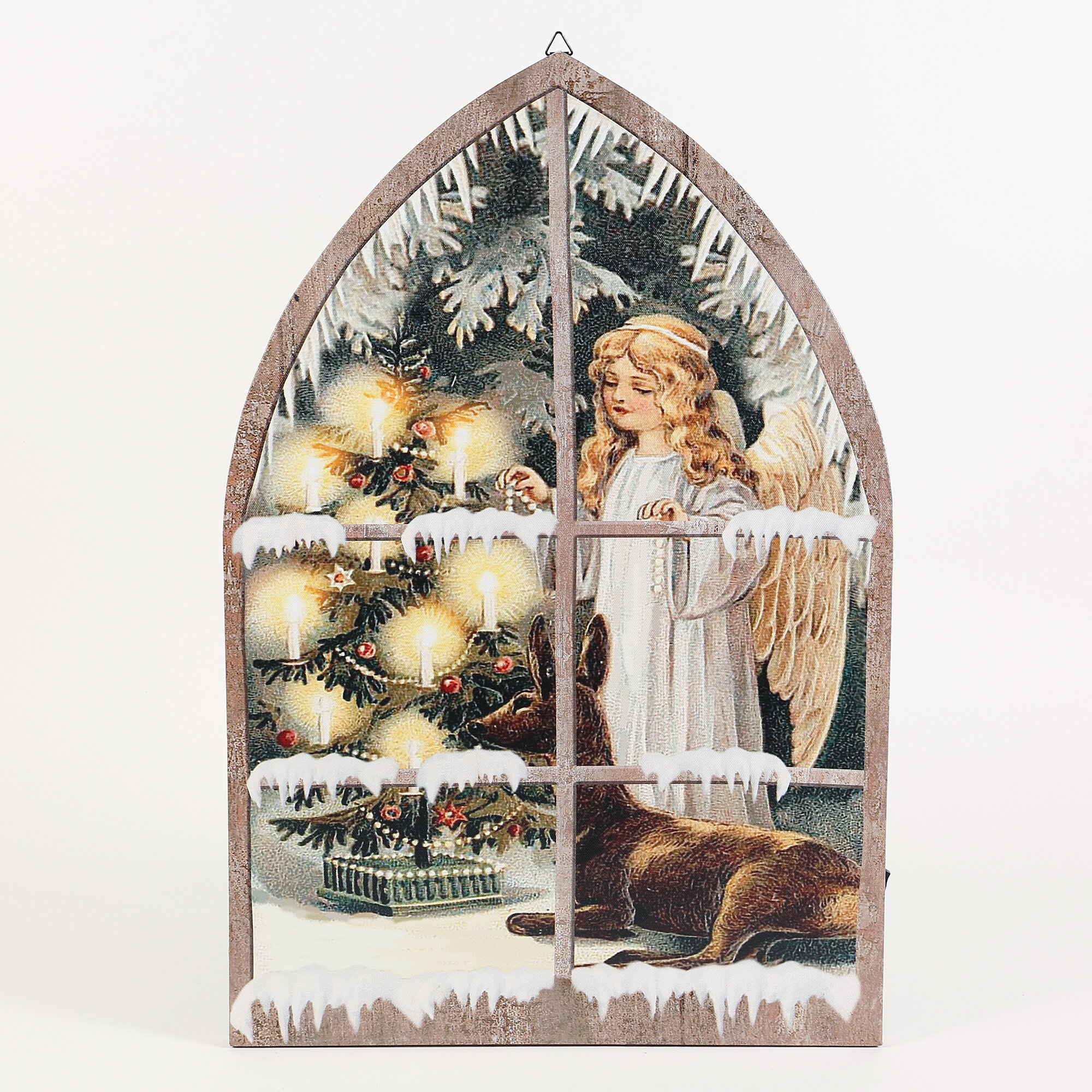 The Holiday Aisle Angel In Window Print On Wrapped Canvas With Led Light Reviews Wayfair
