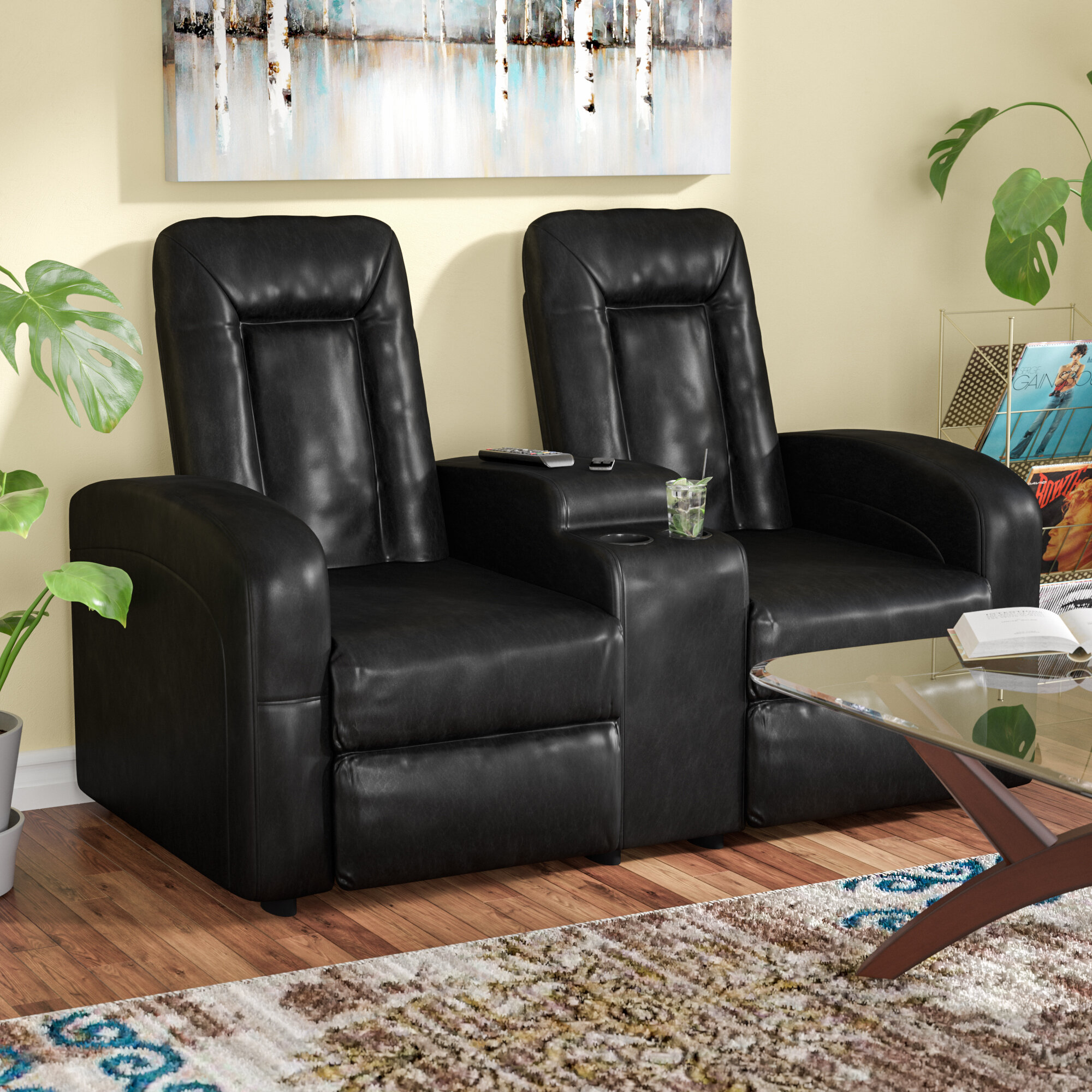 Red Barrel Studio Leather 2 Seat Home Theater Recliner with Storage ...