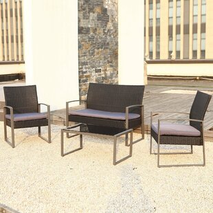 Orren Ellis Wycoff 4 Piece Rattan Conversation Set with Cushions