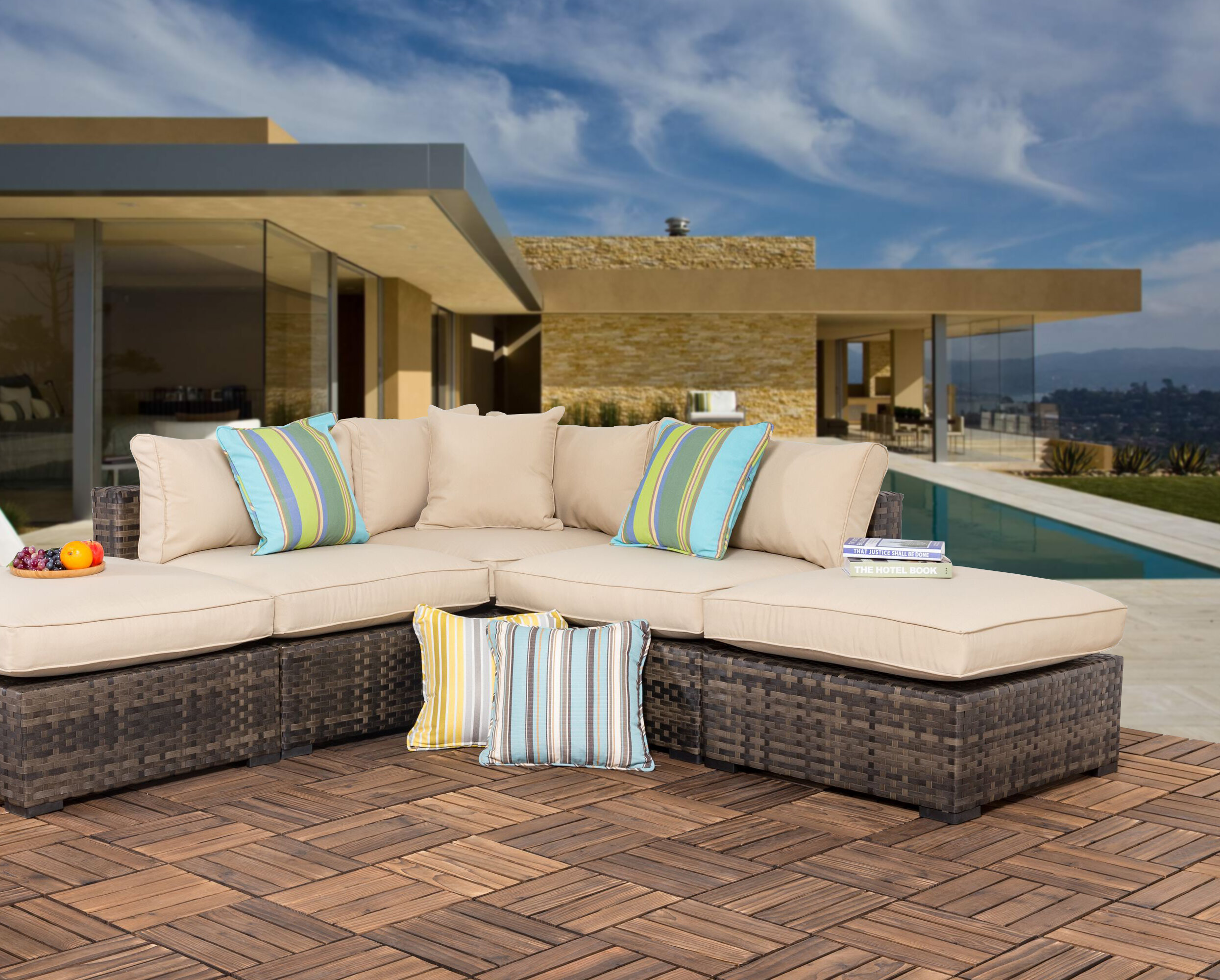 Haskins Outdoor 10 Piece Wicker Sectional Seating Group with Cushions