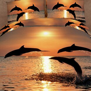 Pacific Sunset Dolphins 6 Piece Reversible Duvet Cover Set