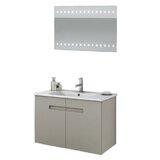 New York 34 Wall Mounted Single Bathroom Vanity Set with Mirror by ACF Bathroom Vanities