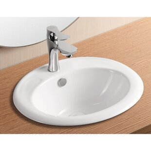 Affordable Ceramica II Ceramic Oval Drop-In Bathroom Sink with Overflow By Caracalla