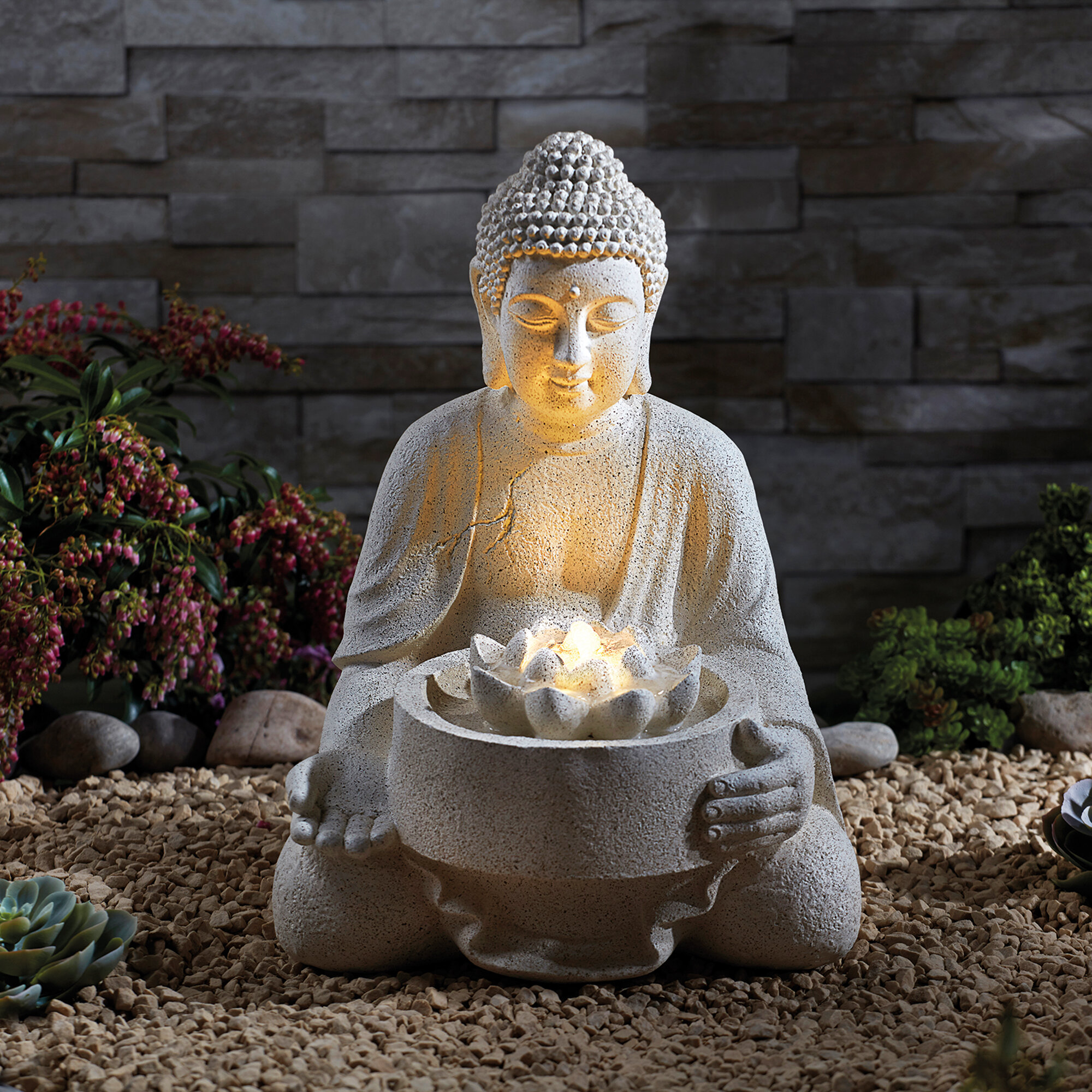 Bloomsbury Market Steverson Resin Buddha Water Feature With Led Light Wayfair Co Uk