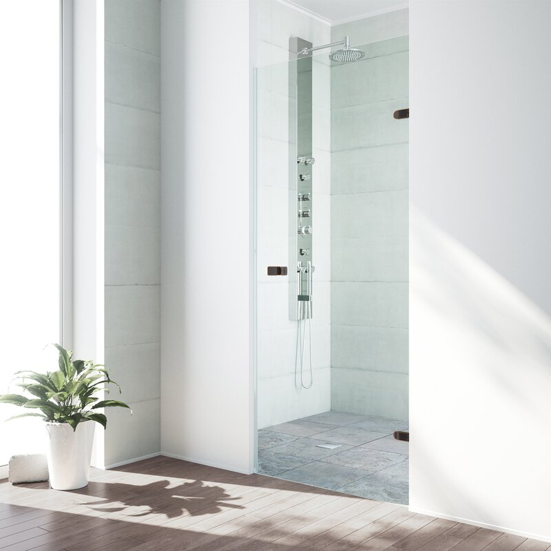 "VIGO  Tempo 28.5"" x 70.63"" Hinged Frameless Shower Door"