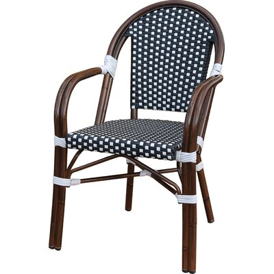 Dolly Stacking Patio Dining Chair Color: Black / White by August Grove