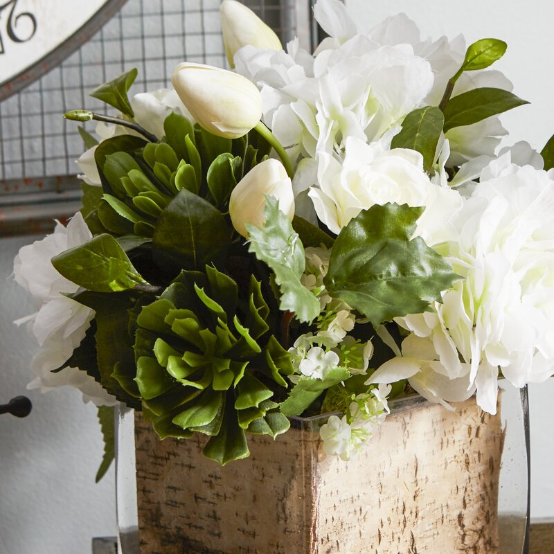 Faux White Flowers And Succulents In Decorative Vase Reviews
