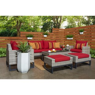 Minor 7 Piece Rattan Sunbrella Sofa Set with Cushions by Wade Logan